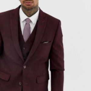 Men Asos Slim Fit Suit Jacket Blazer  Burgundy 38
